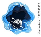paper art carve to carp on the...   Shutterstock .eps vector #1128515192