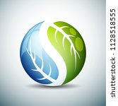 blue green leaves sphere... | Shutterstock .eps vector #1128518555