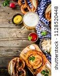 oktoberfest food menu  bavarian ...   Shutterstock . vector #1128520448