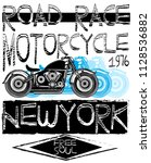 vintage motorcycle t shirt... | Shutterstock . vector #1128536882
