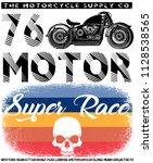 vintage motorcycle t shirt... | Shutterstock . vector #1128538565