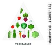 pyramid of vegetables and herbs ... | Shutterstock .eps vector #1128554852