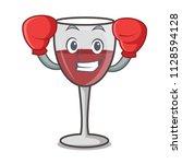 boxing wine character cartoon... | Shutterstock .eps vector #1128594128