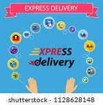 express delivery flat icons... | Shutterstock .eps vector #1128628148
