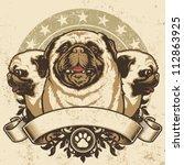 Pug Crest Design. Vector...