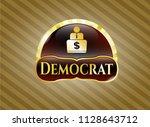 golden badge with man working... | Shutterstock .eps vector #1128643712