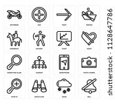 set of 16 icons such as bell ...