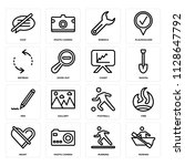 set of 16 icons such as rowing  ...