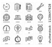 set of 16 icons such as... | Shutterstock .eps vector #1128647828
