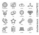 set of 16 icons such as support ...