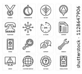 set of 16 icons such as mobile...