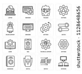 set of 16 icons such as network ...