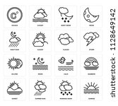 set of 16 icons such as sunrise ...