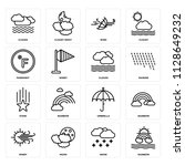 set of 16 icons such as rainbow ...