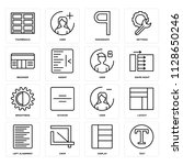 set of 16 icons such as text ...