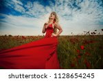 sexy blond girl in elegant... | Shutterstock . vector #1128654245