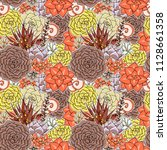 succulents seamless pattern.... | Shutterstock . vector #1128661358