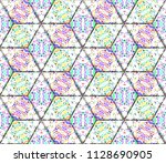colorful seamless rhombus... | Shutterstock . vector #1128690905