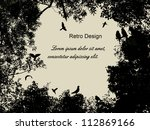 birds in the tree and flying on ... | Shutterstock .eps vector #112869166