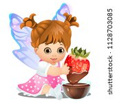 a little happy animated girl... | Shutterstock .eps vector #1128703085