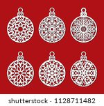 laser cut template of christmas ... | Shutterstock .eps vector #1128711482
