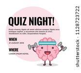 quiz night poster with brain... | Shutterstock .eps vector #1128723722