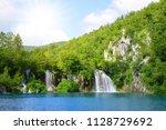 beautiful waterfalls in...   Shutterstock . vector #1128729692
