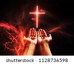 dramatic religious background... | Shutterstock . vector #1128736598