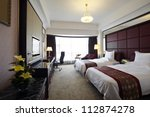 Stock photo hotel bedroom 112874278