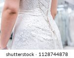 closeup back of young woman... | Shutterstock . vector #1128744878