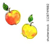set of fresh yellow apples and... | Shutterstock . vector #1128749882