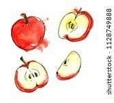 set of fresh red apples and... | Shutterstock . vector #1128749888