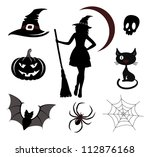 halloween icons and emblems | Shutterstock .eps vector #112876168