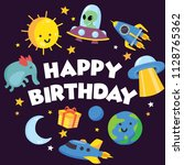 cute birthday card and... | Shutterstock .eps vector #1128765362