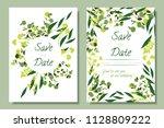 wedding invitation frames with...   Shutterstock .eps vector #1128809222