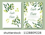 wedding invitation frames with... | Shutterstock .eps vector #1128809228