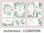 wedding card templates set with ... | Shutterstock .eps vector #1128809288