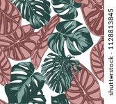 tropical jungle leaves. vector... | Shutterstock .eps vector #1128813845
