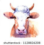 cow. watercolor illustration | Shutterstock . vector #1128826208