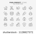 thin line icons set of babies... | Shutterstock .eps vector #1128827372