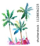 palm trees. watercolor... | Shutterstock . vector #1128836225