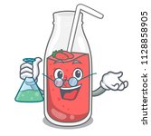 professor strawberry smoothie... | Shutterstock .eps vector #1128858905