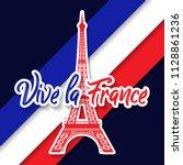 bastille day 14th of july  vive ... | Shutterstock .eps vector #1128861236