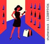 wine shopping. woman in a wine...   Shutterstock .eps vector #1128895436