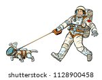 Stock vector astronauts man and dog isolated on white background pop art retro vector illustration kitsch 1128900458