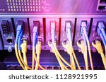 fiber optic cables connected to ...   Shutterstock . vector #1128921995