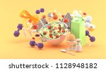 salads  milk  eggs  dumbbell ... | Shutterstock . vector #1128948182