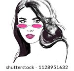 fashion illustration. girl face ... | Shutterstock . vector #1128951632