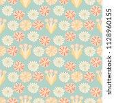soft pastel retro floral ... | Shutterstock .eps vector #1128960155