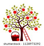 vector apple tree  ladder and... | Shutterstock .eps vector #1128973292